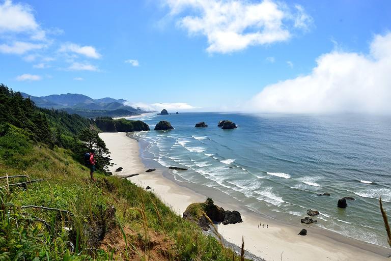 Hiking along the Oregon coast