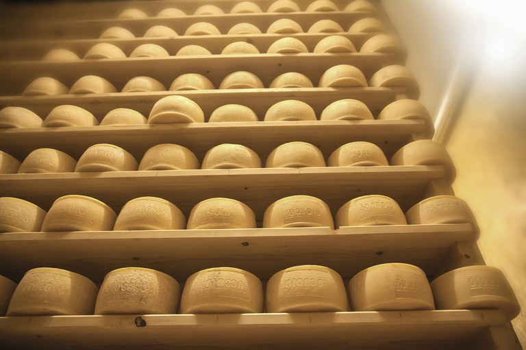 Cheese on a shelf in Slovenia│