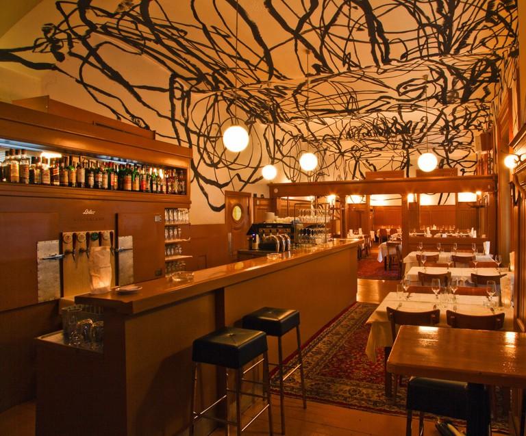 The striking interior of the Skopik restaurant