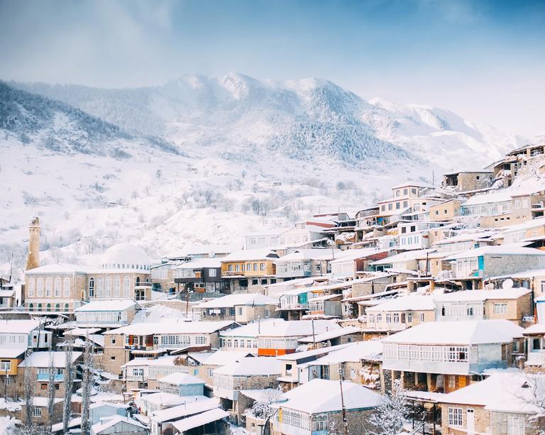 Winter in Nizhny Batlukh, Republic of Dagestan, Russia