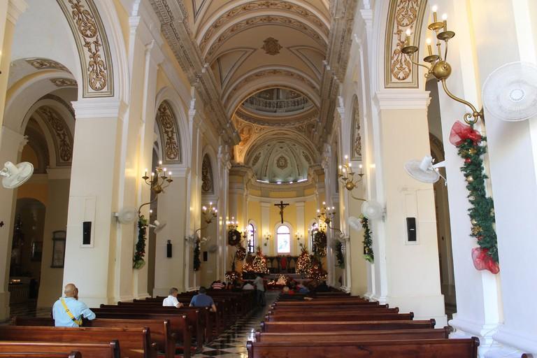 Inside San Juan Cathedral during Christmastime