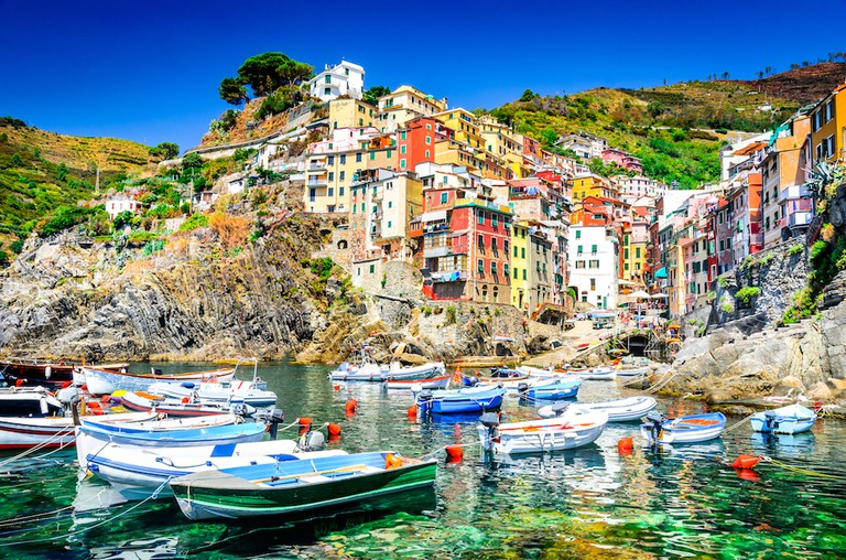 Cinque Terre. Riomaggiore village in a small valley in the Liguria region of Italy