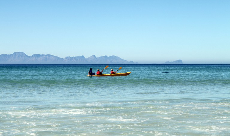Kayaking off Fish Hoek beach, Cape Town