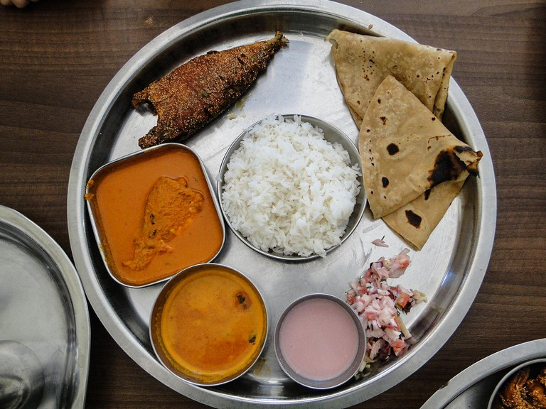 A Konkani meal usually includes rice, whole-wheat flat breads, sol-kadhi, fish curry and fish fry