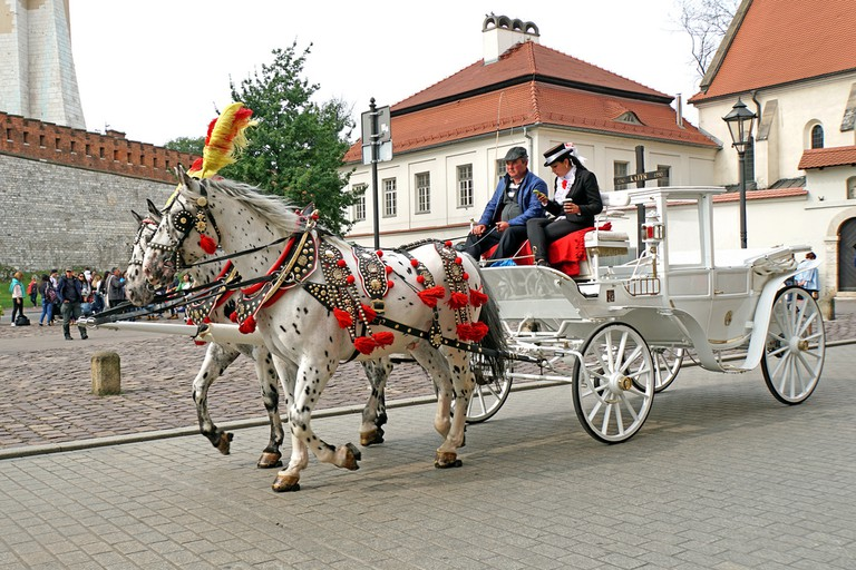A carriage ride in Krakow, Poland