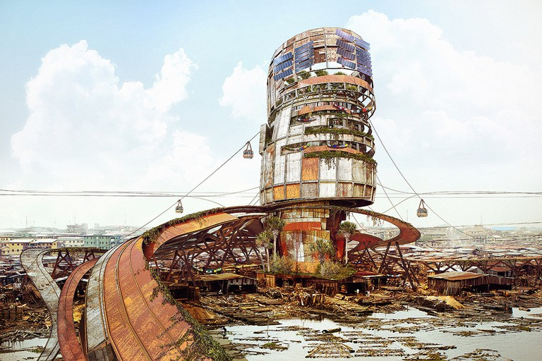 An improvised shanty megastructure standing at the Makoko waterfront