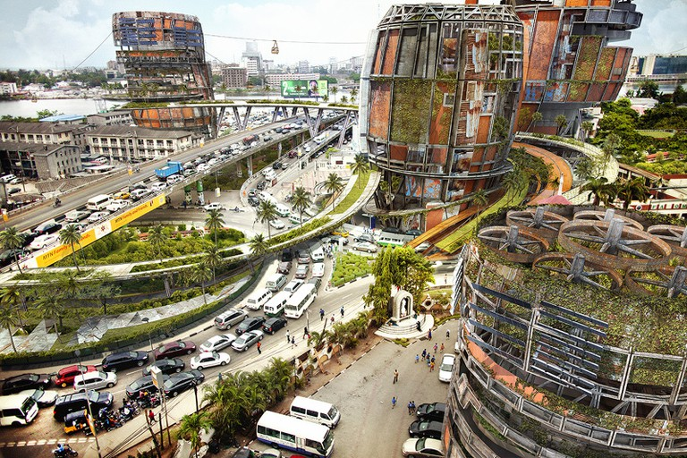 Improvised shanty mega-structures rendered in the Falomo Roundabout area