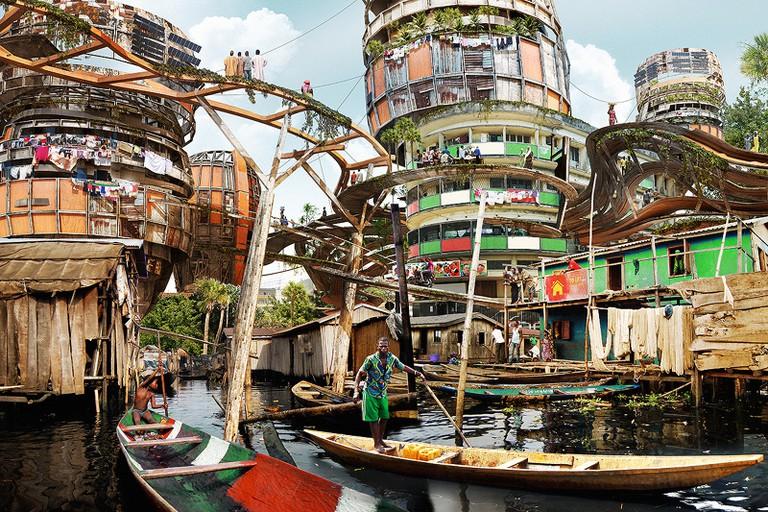 A futuristic depiction of a canal in Makoko village