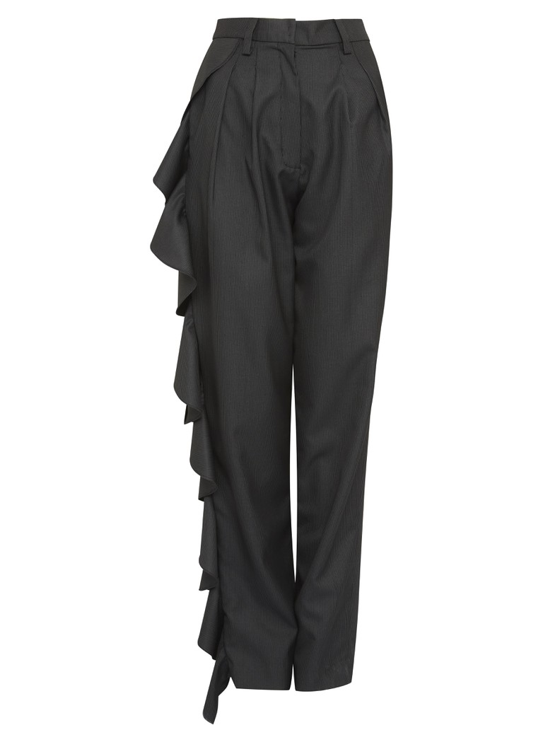 Black Ruffled Trousers