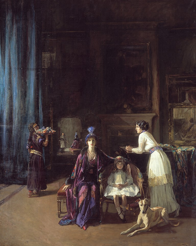 John Lavery, The Artist's Studio: Lady Hazel Lavery with her Daughter Alice and Stepdaughter Eileen, 1910–1913