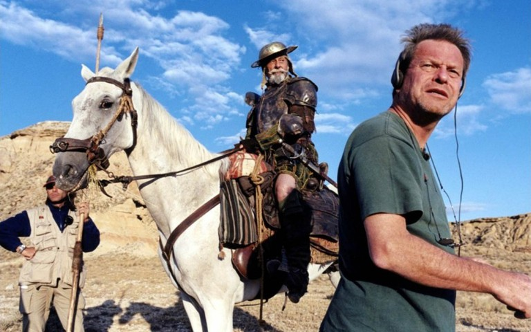 """Terry Gilliam and Jean Rochefort as his original Quixote in the documentary """"Lost in La Mancha"""" 