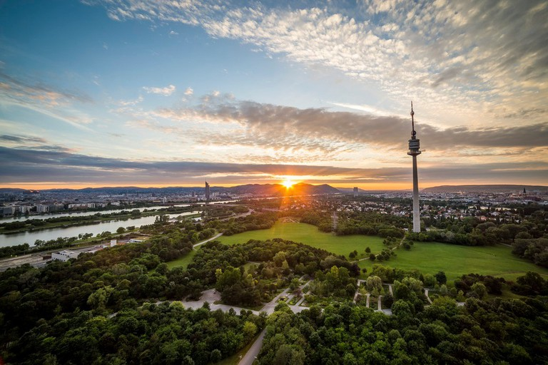 Sunset in Vienna (view from Donaupark to Kahlenberg)