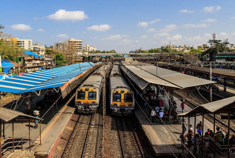 Two local trains halted at a station