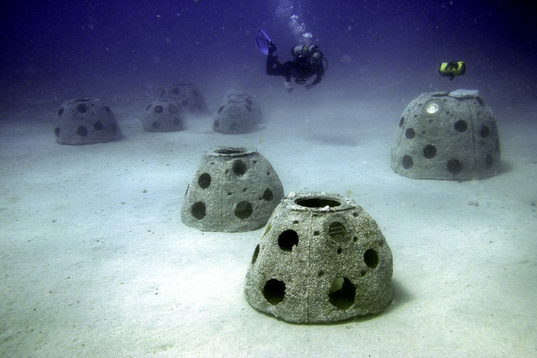 New reef balls underwater with diver