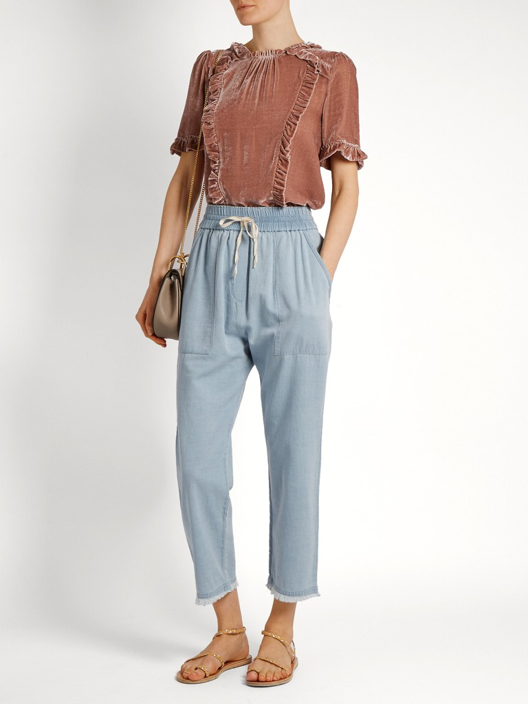 http://www.matchesfashion.com/products/Masscob-Frayed-hem-cropped-denim-trousers-1081302