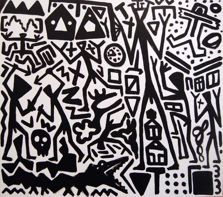 Photo of AR Penck's System Painting, 2007, from the Michael Werner Gallery, NY