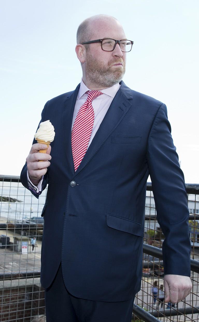 Paul Nuttall contemplates dessert