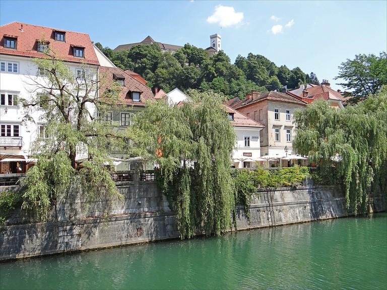 Ljubljana Riverbank with cafés│