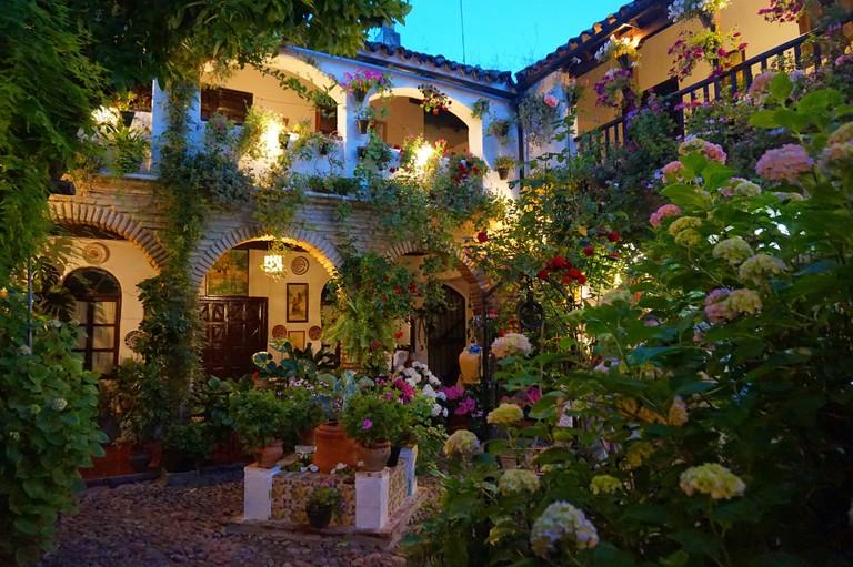 The patios are beautifully illuminated after dark; Encarni Novillo