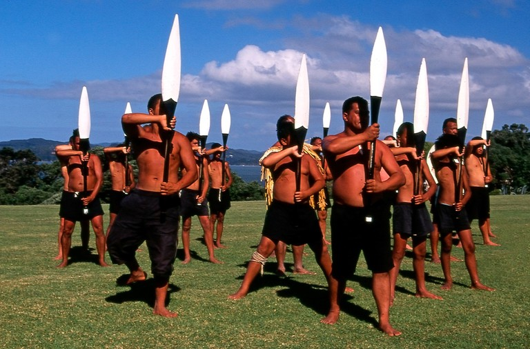 Maori Warriors Perform a haka During Waitangi Day Celebrations