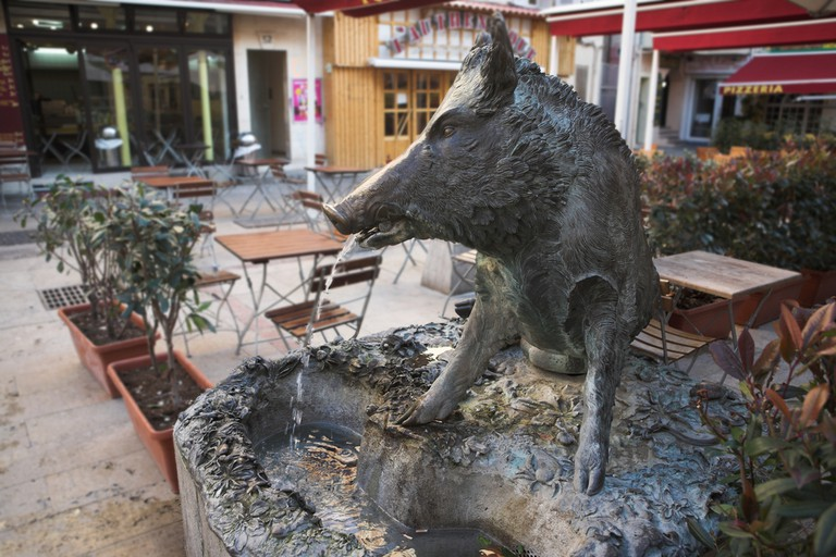 The boar fountain outside Le Pain Quotidien is a favourite with the kids