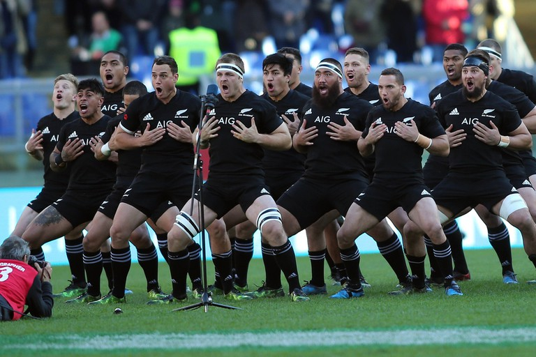 New Zealand Rugby Team Perform The Haka Before A Test Match Against Italy