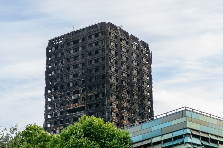 Grenfell Tower the day after the fire