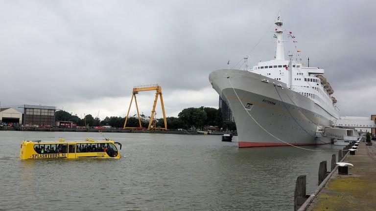 A Splashtour bus approaching the SS Rotterdam