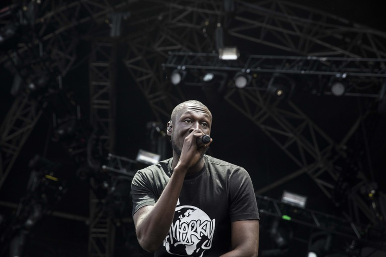 Stormzy hyping before the start of his set.