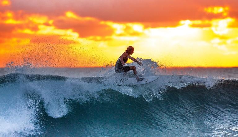 Surfing until sundown when the party starts