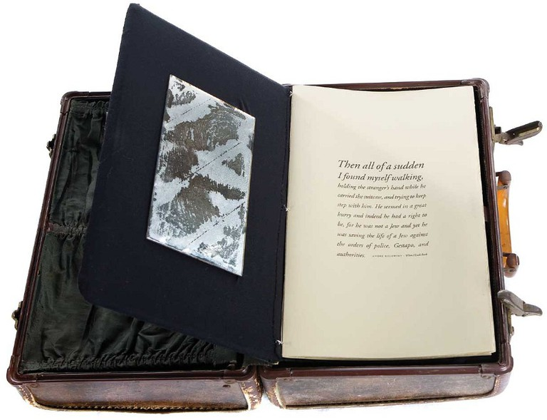 """""""Tamara"""" 1992 (artists book: found leather suitcase, wool, Arches printmaking paper, mirror) 