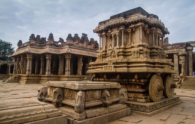 An intricately sculpted temple in Hampi, Karnataka