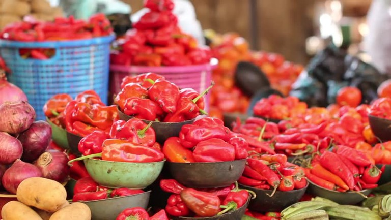 Pepper display at an open market