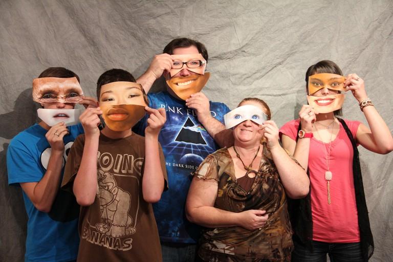 People wearing diversity masks
