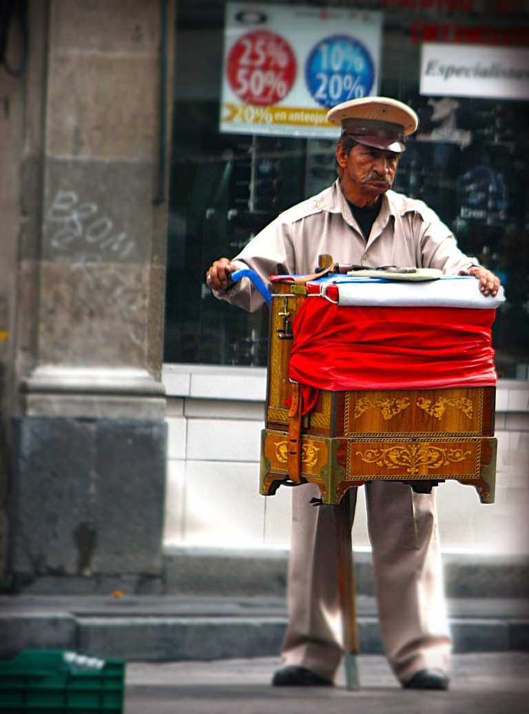 A lonely organillero in Mexico City