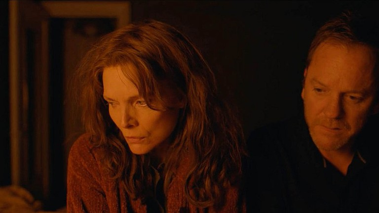 """Michelle Pfeiffer and Kiefer Sutherland in """"Where Is Kyra?""""   © Great Point Media"""