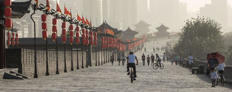 "City walls, Xian, starting point of the Silk Road and capital of four Chinese dynasties, ""The Story of China"""