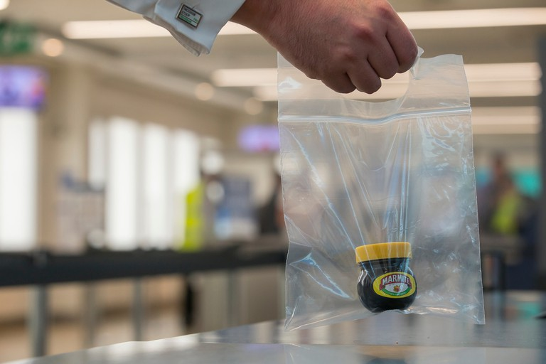 70g Marmite jar in a clear plastic bag | © London City Airport