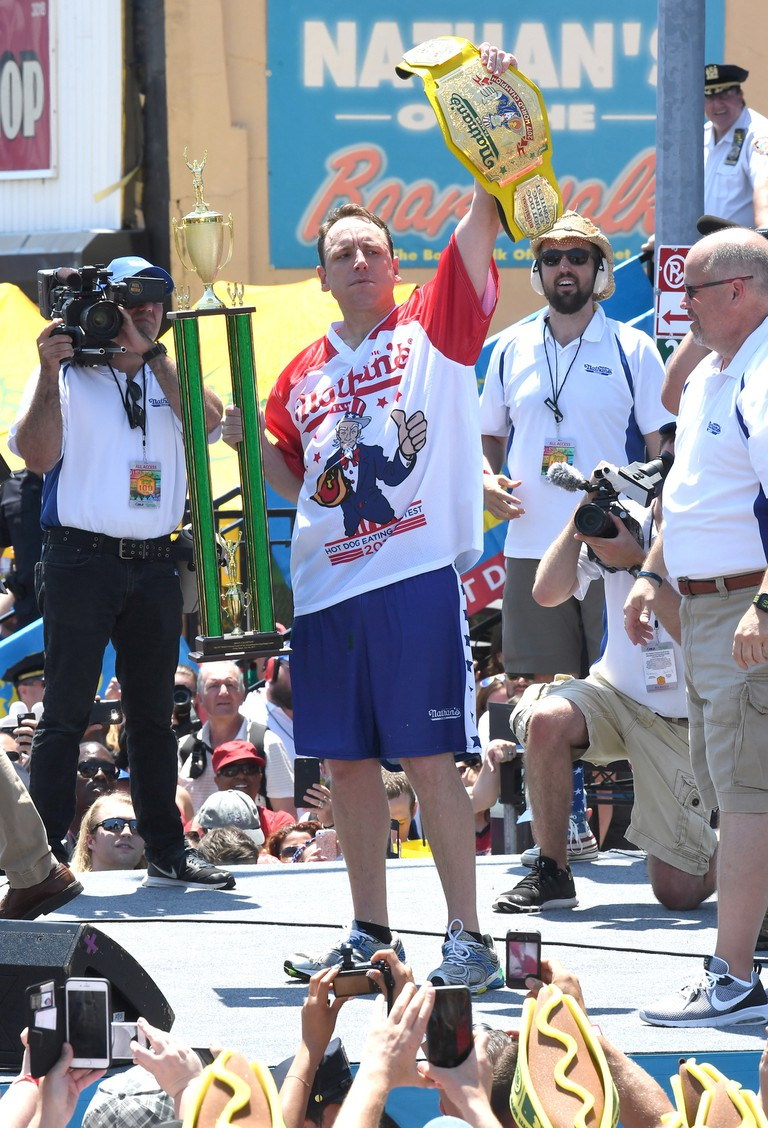The winner of this year's Nathan's Famous Hot Dog Eating Contest Joey Chestnut