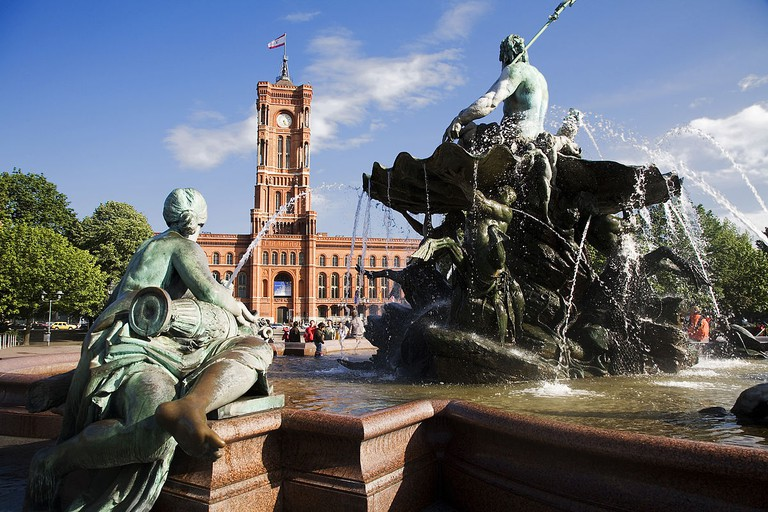 The Rotes Rathaus (Red Town Hall) where peregrine falcons have made their home
