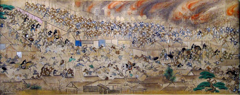 Scroll depicting the Great Fire of Meireki