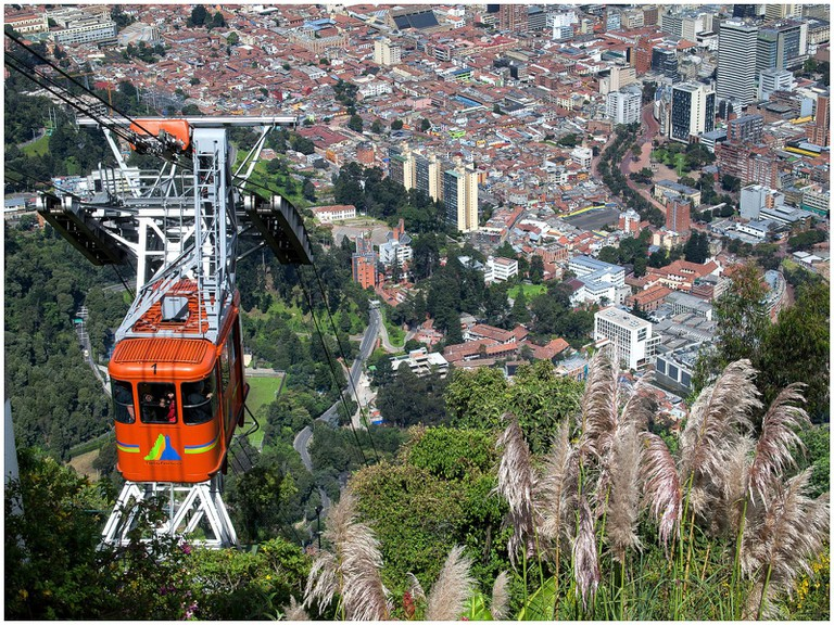 Taking the cable car to Monserrate