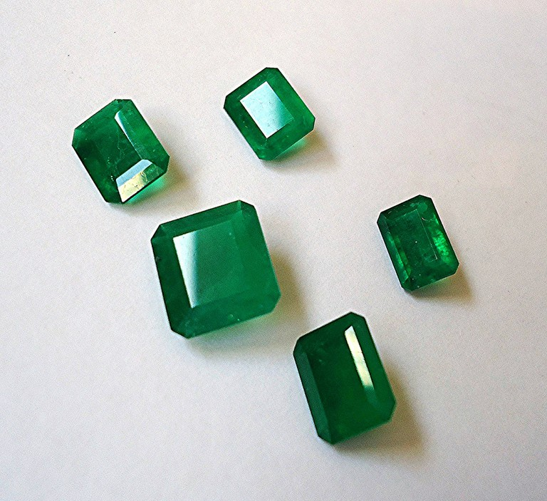A variety of Colombian emeralds