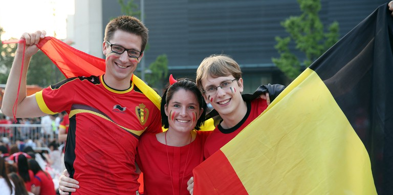 Belgian soccer fans all dressed up in the nation's colours