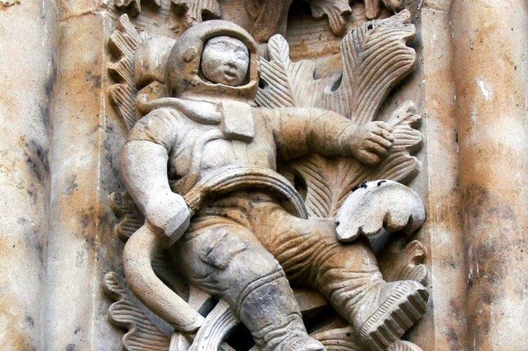 The astronaut carving on Salamanca's New Cathedral