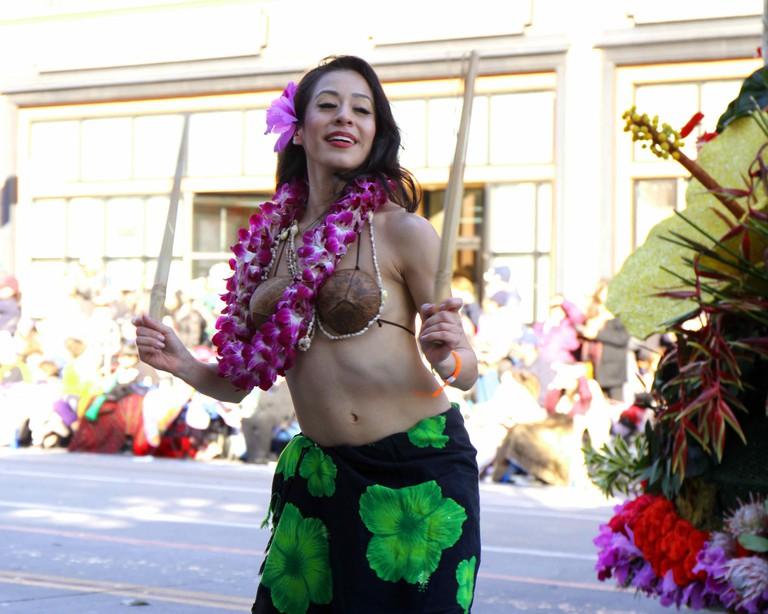 Lady wearing coconut bra