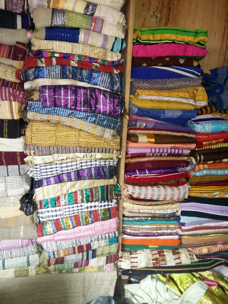 A store that sells aso oke fabrics