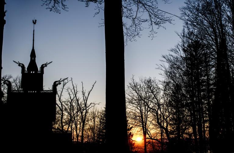 Fantoft Stave Church at sunset