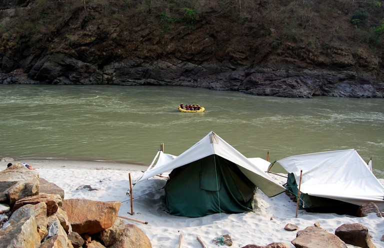 Camp beside the Ganges