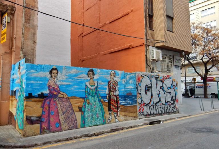 This mural in El Carmen depicts Falleras, women in traditional Valencian costume. Photo: Brett Hodnett/Flickr